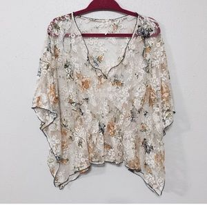 Free People Sz XS floral lace cinched batwing tip